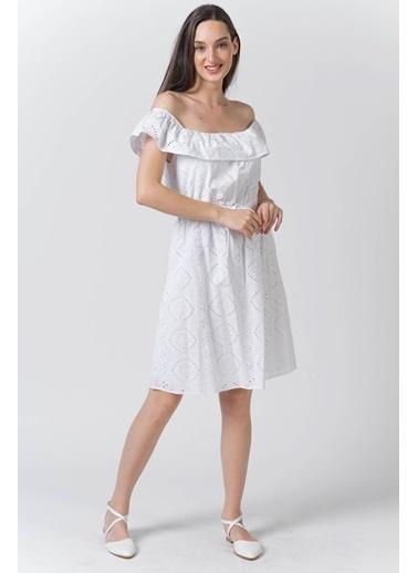 Reyon Kayık Yaka Kemerli ışlemeli Elbise Lacivert Beyaz